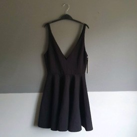 Minkpink 2 Strap V Neck Skater Dress Black 10 S Small