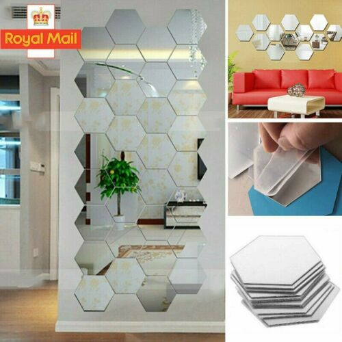 Home Decoration - 3D Mirror Tiles Mosaic Wall Stickers Self Adhesive Bedroom Art Decals Home Decor