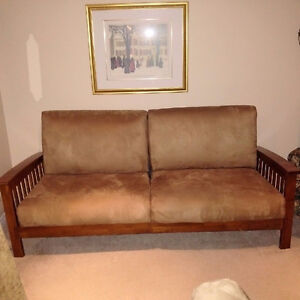 Lovely microsuede couch and loveseat