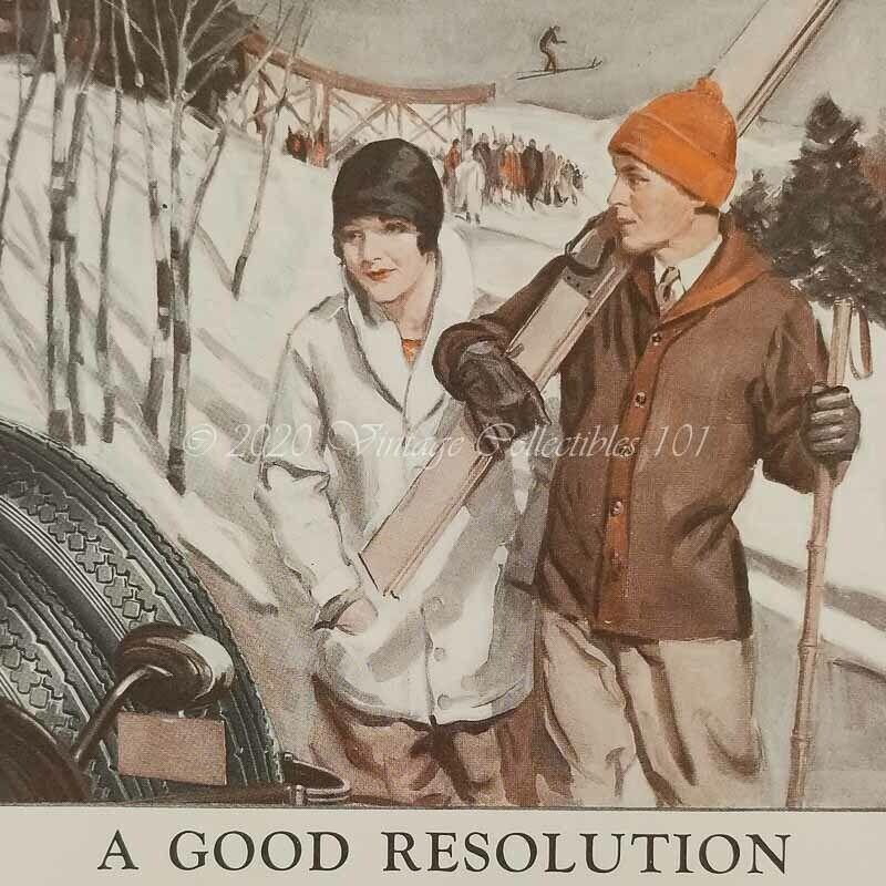 1928 Firestone Tires Snow Mountain Ski High Jump Skiers art decor vintage ad