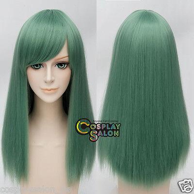 Manga Haar 55cm Grün Cosplay Perücke Halloween Party Basic Gelatte Wig + Cap