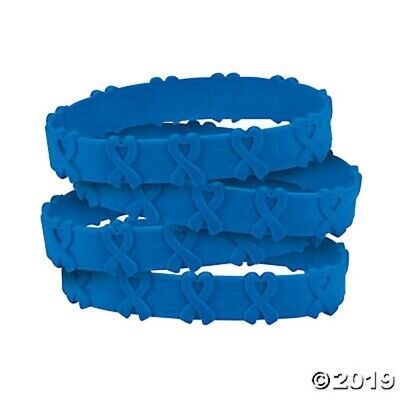 Cancer Awareness Blue Ribbon POP OUT Bracelets  Set of 24 Colon - Cancer Awareness Bracelets