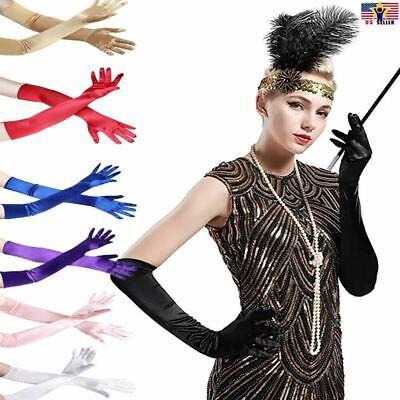 Girl Elbow Length Stretch Satin Long Flapper Gloves Evening Opera 20s (Stretch Satin Dress Gloves)