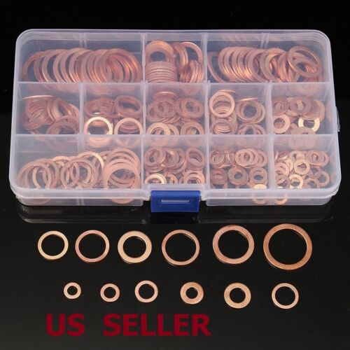 280Pcs Kit 12 Sizes Assorted Solid Copper Crush Washers Seal Flat Ring + Case