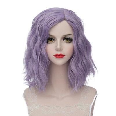Lolita Heat Resistant Light Purple Ombre Curly Women Harajuku Cosplay Wig + Cap - Heat Resistant Wig