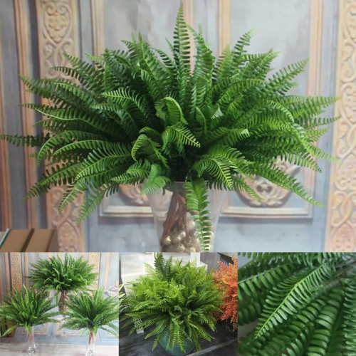 Home Decoration - Large Artificial Plants Fake Leaf Foliage Bush Home Office Garden Outdoor Decor