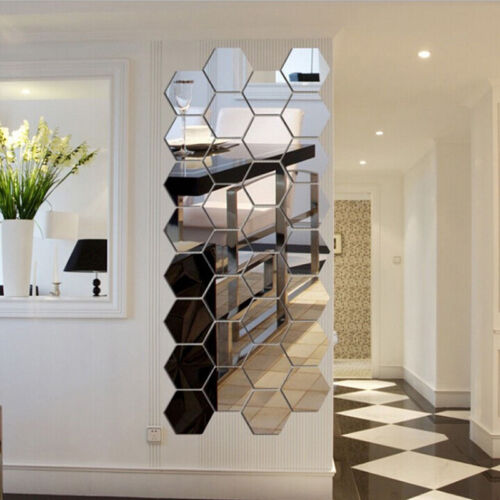 Home Decoration - 12Pcs Wall Decor Stickers 3D Mirror Hexagon Removable Decal Home Plastic Art DIY