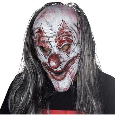 Silver Mask For Halloween (Halloween Clown Mask Killer Clown Scary Evil Latex Silver KillJoy)