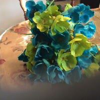 Line green and teal/turquoise flowers bush, wedding, home decor