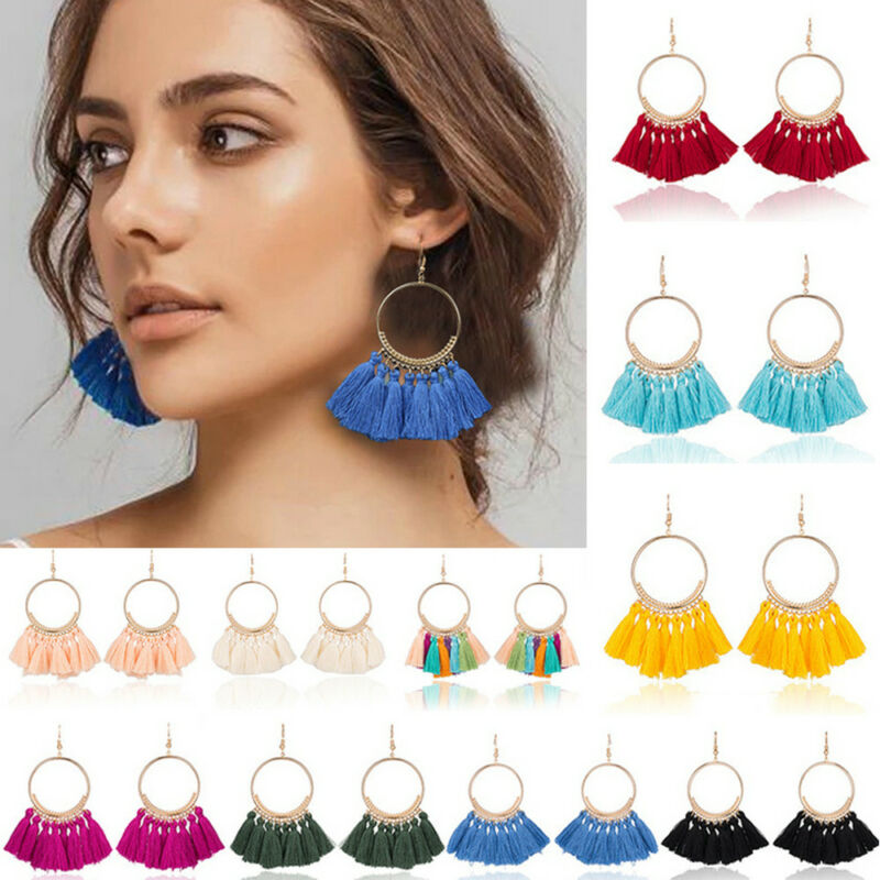 Earrings - Vintage Women Bohemian Earrings Long Tassel Fringe Boho Dangle Earrings Jewelry
