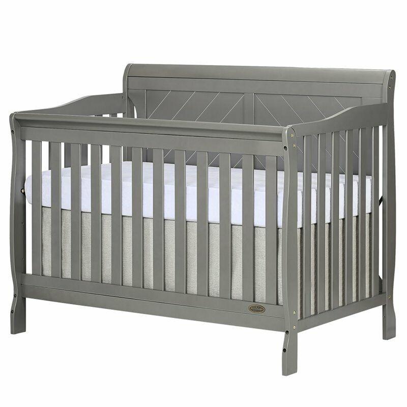 Dream On Me Ashton Full Panel Convertible 5 in 1 Crib in Storm Grey