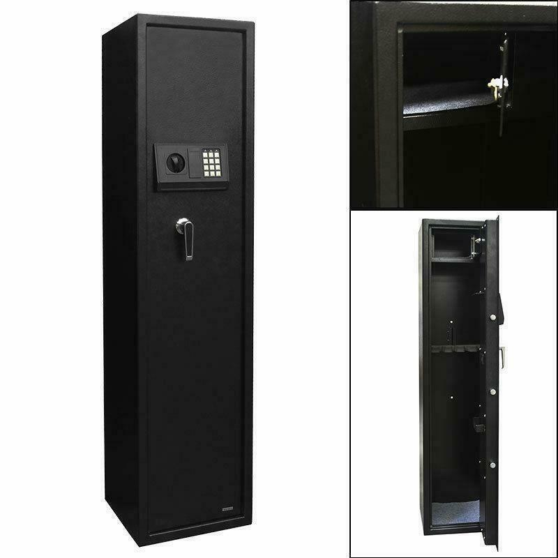 New 5 Gun Rifle Security Electronic Digital Lock Tall Safe Pistol Storage US
