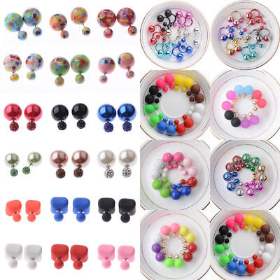6Pairs Fashion Charm Double Girls Pearl Beads Candy Color Plug Ear Stud Earrings