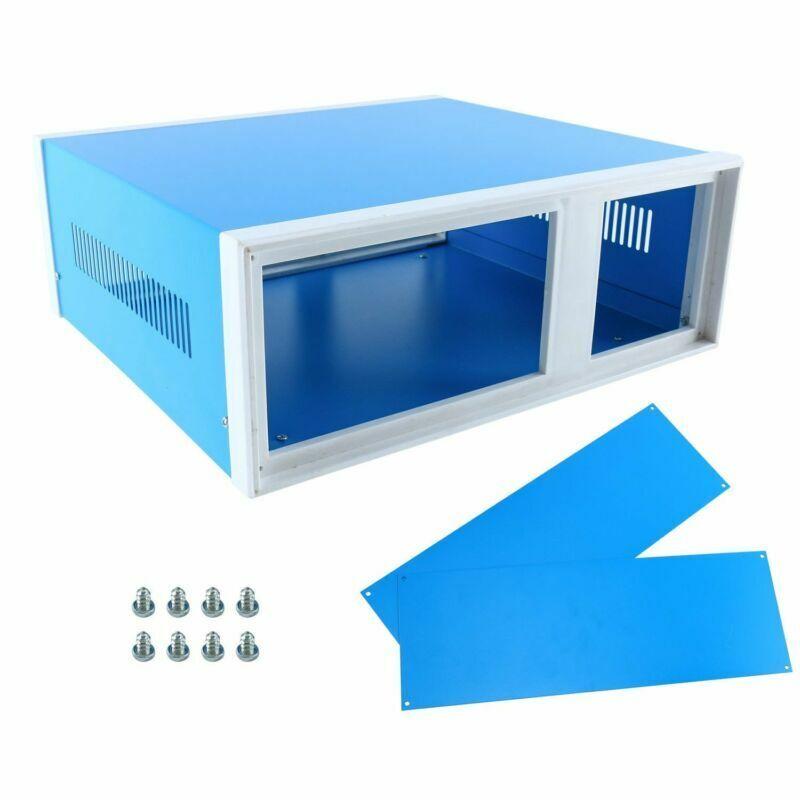 "12.2"" x 11.2"" x 4.3"" Blue Metal Enclosure Project Case DIY Project Box Case"