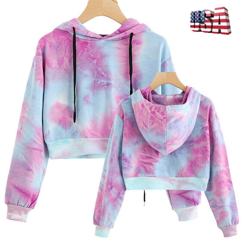 Women Hoodie Sweatshirt Jumper Sweater Crop top Coat Workout