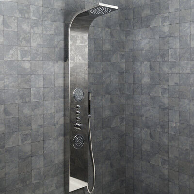 Modern Bathroom Shower Tower Panel Thermostatic Polished Stainless Steel NDT