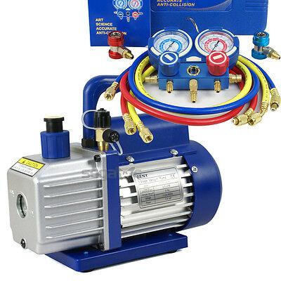 R134a R12 R22 R502 Ac Hvac1-stage 35cfm Vacuum Pump Manifold Gauge 2 Valves