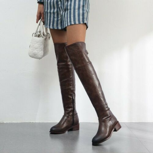 Details about  /Vintage Ladies Low Heels Round Toe Over Knee High Riding Thigh High Boots 34-48