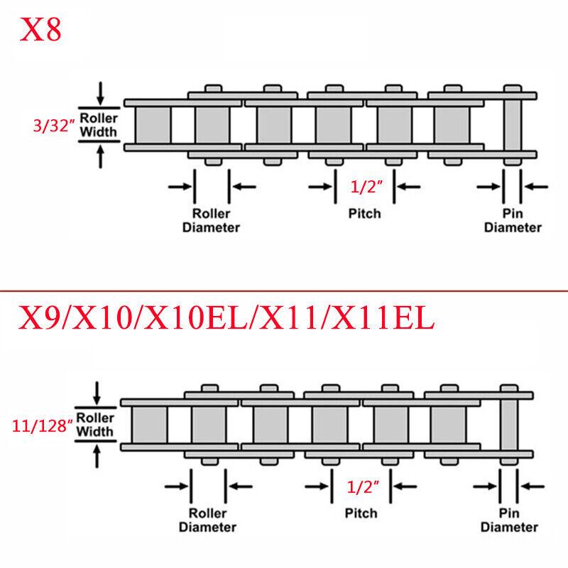 KMC 8//9//10//11s Chain MTB Road Bike Hollow X//EL Gold Chains Cassette Sprocket