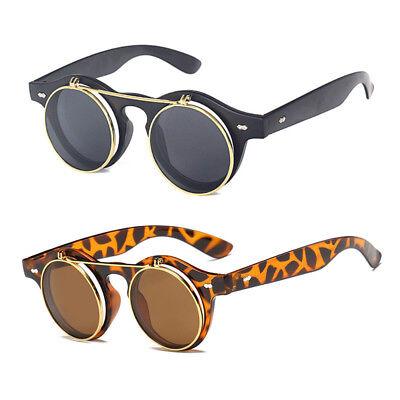 Retro Sonnenbrille Steampunk Brille Vintage Runde Draussen für Frauen Männer Neu (Steam Punk Brille)