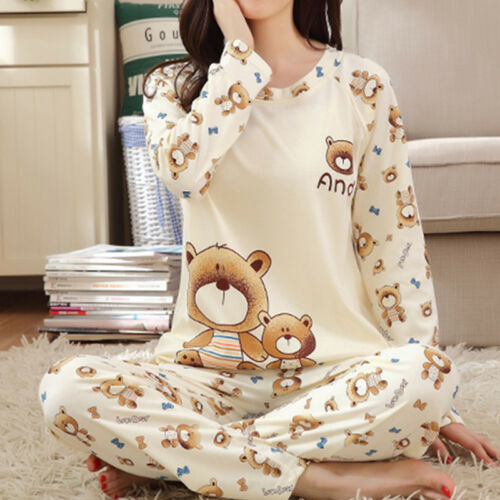 Women Sleepwear Long Sleeve Pajamas Set Bear Print Nightwear
