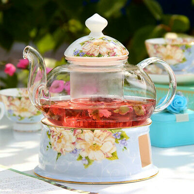 Glass Teapot Ceramic Warmer Suit Bone China Flower Tea Pot Heat-resisting Teaset