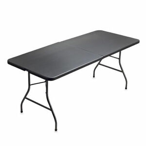 Cosco Deluxe Centerfold Weather Resistant 6 Feet Ft 30 Inch Folding Table Black