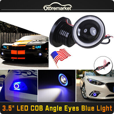 2pcs 3.5'' Car Headlamp Projector LED Fog Light COB Halo Angel Eye Ring Blue USA