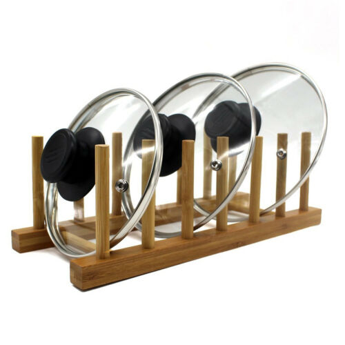 Home Basics 6 Slot Bamboo Dish, Pan, Lid Storage Organizer Rack Home & Garden