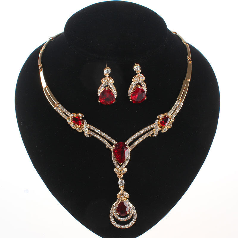 RED GARNET RUBY TOPAZ PENDANT GOLD PLATED CRYSTAL NECKLACE EARRING JEWELRY SET