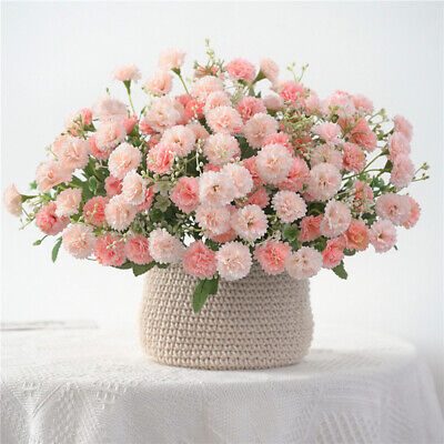 White Fake Flowers (Fake Lilac Silk Plant Artificial Flowers Bouquet Wedding Party Home Garden)