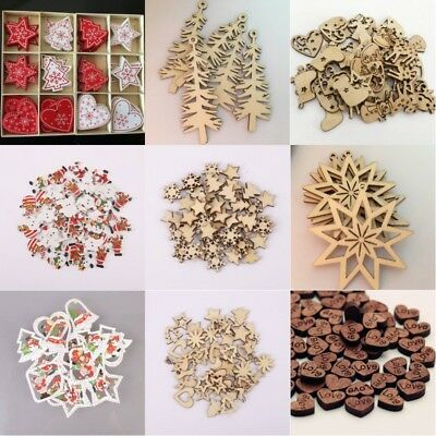 10/50/100Pc Wood Snowflake Wedding Tree Hanging Pendant Ornament Christmas - Snowflake Decor