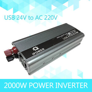 Boat Car 2000W converter power inverter DC 24V to AC 220V 230V 240V invertor USB