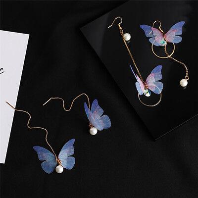 1 Paar Schmetterling Tropfen baumeln Ohrringe lange Ohr Linie Perle Strass O Du Perle Ohrringe Baumeln