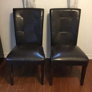 Set of Faux Leather High Back Chairs