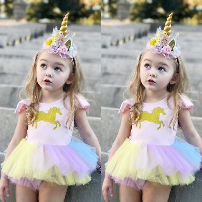 Newborn Baby Girls Unicorn Lace Tutu Romper Fancy Dress Outfits Kids Costume USA