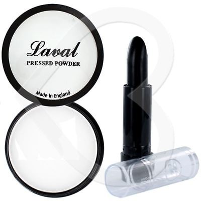 Laval Halloween Fancy Dress Make Up Set White Face Powder & Black Lipstick