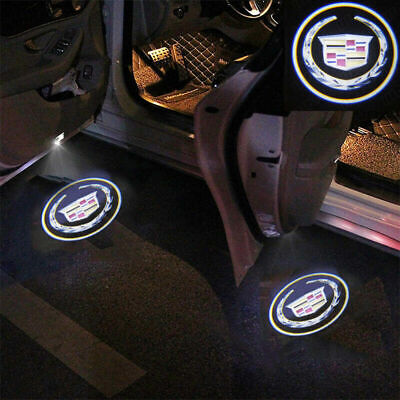2Pcs Wireless LED Door Welcome Light Ghost Shadow Projector Logo For Cadillac