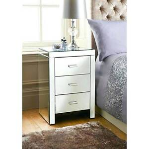 2x Mirrored Bedside Tables 3 Drawer Mirror Furniture Nightstand