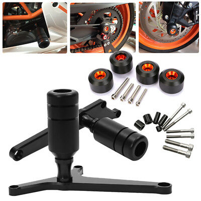 CNC Frame Sliders with Falling Engine Crash Pad Wheels for KTM RC390 2014-2016