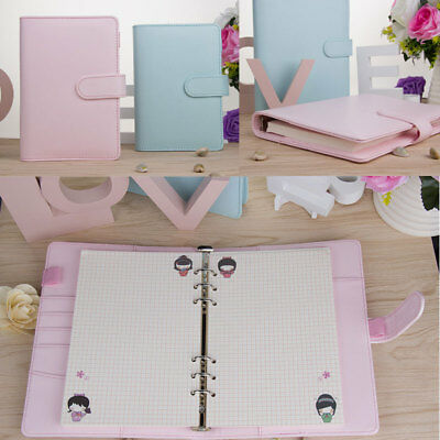 A5 Leather Loose-leaf-ring-binder-notebook Macaron Colour Agenda Planner Diary U