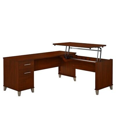 Somerset 72w 3 Position Sit To Stand L Shaped Desk In Hansen Cherry