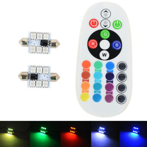 RGB LED 36mm 5050 SMD 6LED Bulb Car Interior Dome Lights Festoon
