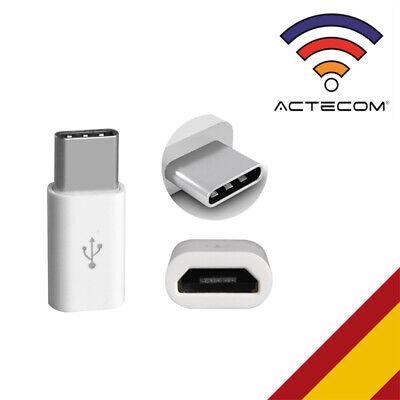 ACTECOM® ADAPTADOR blanco MICRO USB A TIPO C PARA SAMSUNG HUAWEI XIAOMI...