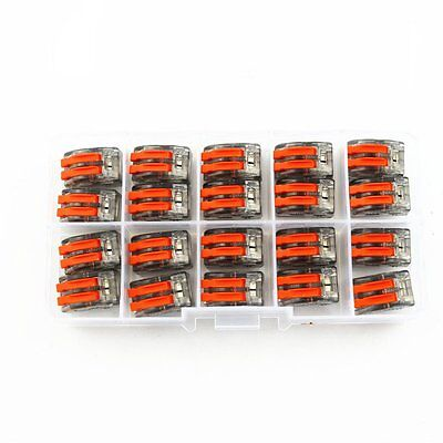 20x Wago Type Wire Connector 2 Pole Terminal Block Cage Clamp 222-412 Box