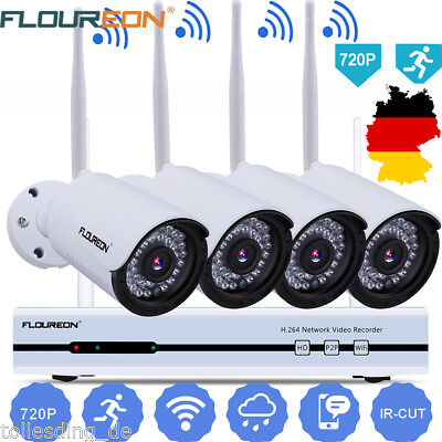 4CH 1080P HD Wireless Wifi NVR WLAN IP Kamera Set Funk Video Überwachungssystem