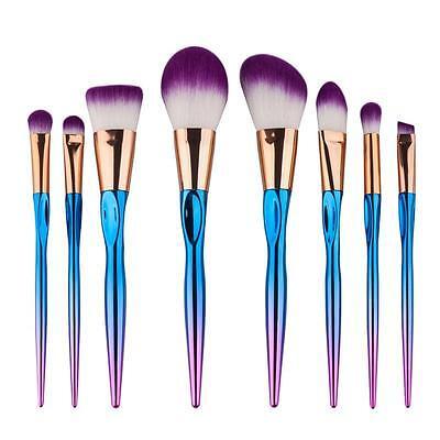 8Pcs Rainbow Color Makeup Purple Hair Heart Shaped Eyeshadow Brushes Set kit