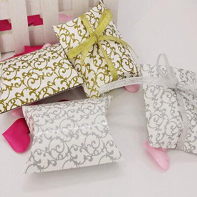 50/100X Pillow Shape favor Gift Box Wedding Party Cake Printing Candy Decor Box