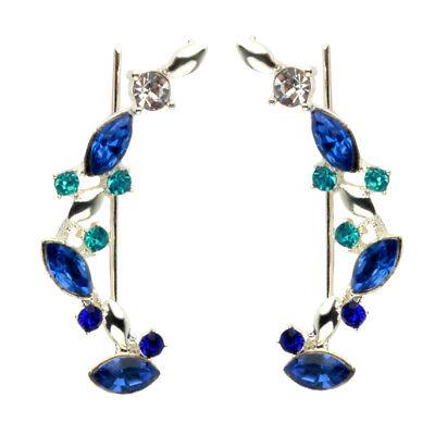 Blue Crystal Ear Cuff (Ear Cuff Pins Trails Upwards Pair Earrings Gold Plated Austrian Blue)