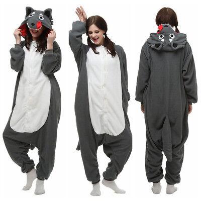 New Kigurumi Gray Wolf Cosplay Unisex Adult Pajamas Costume Sleepwear - Wolf Costums